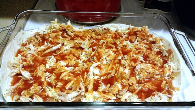Mix the sauce around with the chicken on the last layer to blend it in there.