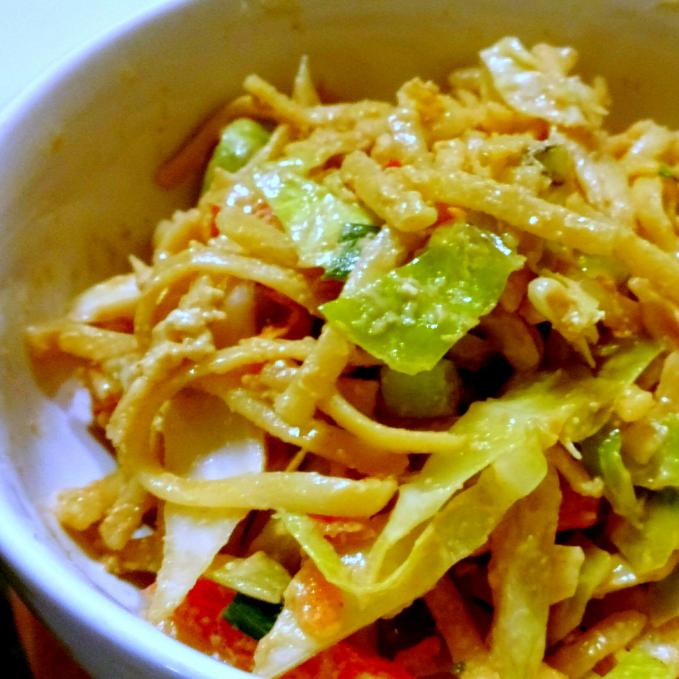 Vegan Asian Noodle Salad with Spicy Peanut Butter Dressing